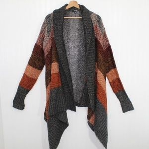 A.N.A. Gray and Orange Striped Cardigan